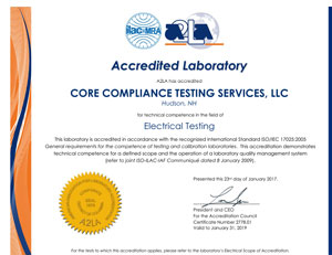 A2LA Scope of Accreditation to ISO/IEC 17025:2005 Core Compliance Testing Services of Hudson NH